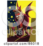 Royalty Free RF Clipart Illustration Of A Demonic Businessman In The City At Night