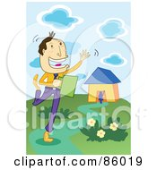 Royalty Free RF Clipart Illustration Of A Happy Businessman Waving While Leaving Home by mayawizard101