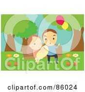 Royalty Free RF Clipart Illustration Of A Cute Family And Baby Sitting On A Park Bench