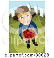 Royalty Free RF Clipart Illustration Of A Farmer Looking Up And Holding A Bushel Of Fruit by mayawizard101