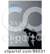Royalty Free RF Clipart Illustration Of A Silhouetted Prisoner Counting His Days In Jail With Chalk On The Wall
