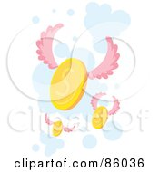 Royalty Free RF Clipart Illustration Of Golden Coins With Pnk Wings
