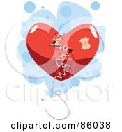 Broken Red Heart Mended With Thread