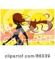 Fit Brunette Woman Walking In An Orange Bikini