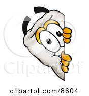 Clipart Picture Of A Tooth Mascot Cartoon Character Peeking Around A Corner