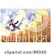 Royalty Free RF Clipart Illustration Of A Late Businessman Leaping Over City Skyscrapers With Arrows And Stars by mayawizard101