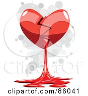 Royalty Free RF Clipart Illustration Of A Broken Red Heart Spilling Out Blood by mayawizard101
