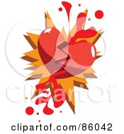 Royalty Free RF Clipart Illustration Of A Broken Red Heart With Blood by mayawizard101