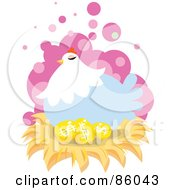 Royalty Free RF Clipart Illustration Of A Blue Hen Nesting On Golden Dollar Eggs