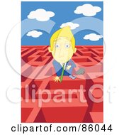 Royalty Free RF Clipart Illustration Of A Blond Businessman Looking Over The Wall Of A Complex Maze
