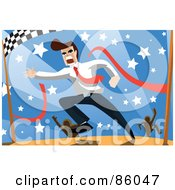 Royalty Free RF Clipart Illustration Of A Brunette Businessman Breaking Through The Finish Line Of A Race