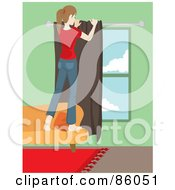 Royalty Free RF Clipart Illustration Of A Caucasian Woman Standing On A Sofa And Hanging Drapes by Rosie Piter