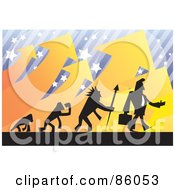 Royalty Free RF Clipart Illustration Of A Silhouetted Evolving Businessman Over A Background Of Stars Stripes And Arrows