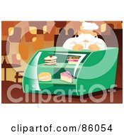 Royalty Free RF Clipart Illustration Of A Pleasant Male Baker Leaning Over A Display Case by mayawizard101