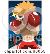 Royalty Free RF Clipart Illustration Of A Blond Boxer Punching For A Knock Out by mayawizard101
