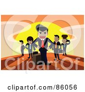 Royalty Free RF Clipart Illustration Of A Team Of Intimidating Businessmen Against The Sunrise