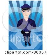 Royalty Free RF Clipart Illustration Of A Young Male Cop Standing With His Hands Behind His Back by mayawizard101