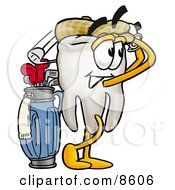 Clipart Picture Of A Tooth Mascot Cartoon Character Swinging His Golf Club While Golfing