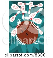 Royalty Free RF Clipart Illustration Of A Fast Spinning Bowling Ball Knocking Over Dollar Pins
