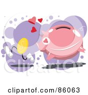 Royalty Free RF Clipart Illustration Of A Pig In Love And Chasing After A Coin by mayawizard101