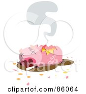 Royalty Free RF Clipart Illustration Of A Dead And Broken Piggy Bank