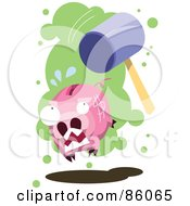 Royalty Free RF Clipart Illustration Of A Hammer Chasing After A Piggy Bank by mayawizard101