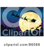 Royalty Free RF Clipart Illustration Of Santas Sleigh And Reindeer Silhouetted Against A Giant Full Moon