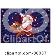 Royalty Free RF Clipart Illustration Of A Reindeer Giving Santa A Ride Through The Snow