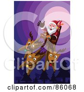 Royalty Free RF Clipart Illustration Of Three Reindeer Flying Santas Sleigh On A Purple Night by mayawizard101