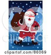 Royalty Free RF Clipart Illustration Of Santa Carrying A Sack And Walking Through The Snow by mayawizard101