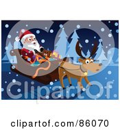 Royalty Free RF Clipart Illustration Of A Reindeer And Santa In The Snow by mayawizard101