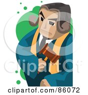 Royalty Free RF Clipart Illustration Of A Male Judge Standing With A Stern Expression by mayawizard101