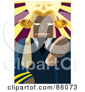 Royalty Free RF Clipart Illustration Of A Male Judge Holding His Thumb Down Under A Shiny Scale