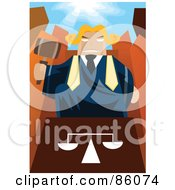 Royalty Free RF Clipart Illustration Of A Male Judge Looming Over A Podium With A Gavel