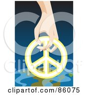 Royalty Free RF Clipart Illustration Of A Hand Resting A Peace Symbol On Earth by mayawizard101
