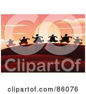 Royalty Free RF Clipart Illustration Of A Line Of Silhouetted Runners Against The Sunrise by mayawizard101