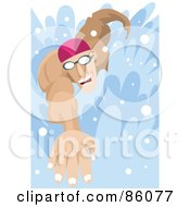 Royalty Free RF Clipart Illustration Of A Male Swimmer Swimming Forward by mayawizard101