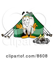 Tooth Mascot Cartoon Character Camping With A Tent And Fire