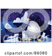 Royalty Free RF Clipart Illustration Of A Penguin Feeding Its Chick A Fish by mayawizard101