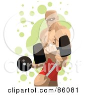 Royalty Free RF Clipart Illustration Of A Professional Strong Man Lifting Dumbbells