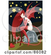 Royalty Free RF Clipart Illustration Of A Sexy Red Haired Devil Sitting On A Headstone
