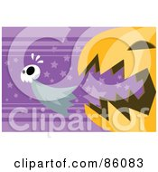 Royalty Free RF Clipart Illustration Of A Pumpkin Trying To Eat A Ghost by mayawizard101