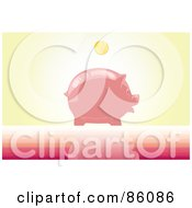 Royalty Free RF Clipart Illustration Of A Golden Coin Above A Shiny Piggy Bank by mayawizard101