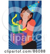 Royalty Free RF Clipart Illustration Of A Birthday Girl Carrying Presents by mayawizard101