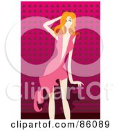 Royalty Free RF Clipart Illustration Of A Sexy Strawberry Blond Woman In A Low Cut Pink Dress