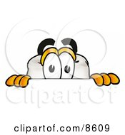 Clipart Picture Of A Tooth Mascot Cartoon Character Peeking Over A Surface