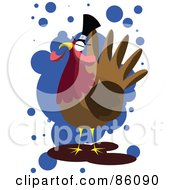 Royalty Free RF Clipart Illustration Of A Turkey Bird Wearing A Pilgrim Hat Over Blue Spots by mayawizard101