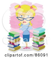 Stern Blond Librarian Woman By Piles Of Books