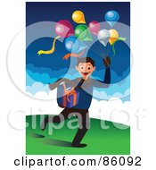 Royalty Free RF Clipart Illustration Of A Birthday Boy Running With Balloons And A Present by mayawizard101