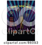 Royalty Free RF Clipart Illustration Of A Happy New Year Greeting Wth Fireworks And City People